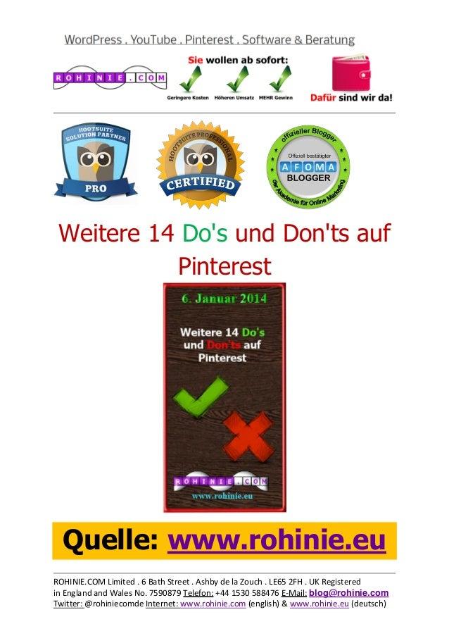 Weitere 14 Do's und Don'ts auf Pinterest  Quelle: www.rohinie.eu ROHINIE.COM Limited . 6 Bath Street . Ashby de la Zouch ....