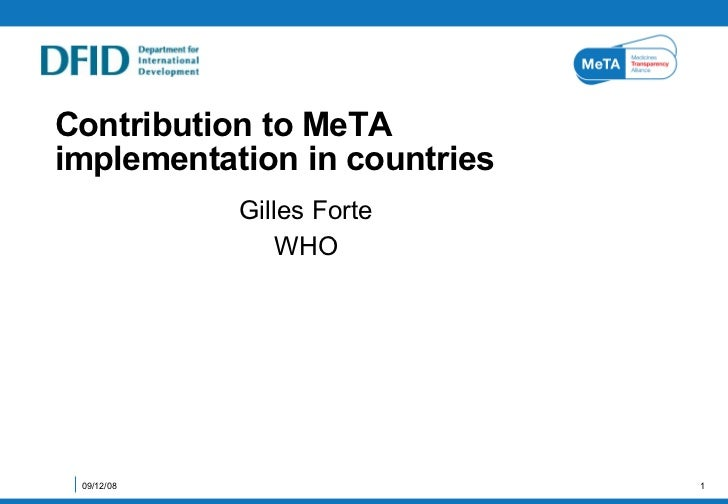 Contribution to MeTA implementation in countries  Gilles Forte WHO 06/04/09