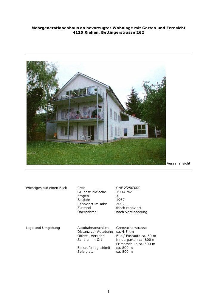 Mehrgenerationenhaus an bevorzugter Wohnlage mit Garten und Fernsicht                     4125 Riehen, Bettingerstrasse 26...