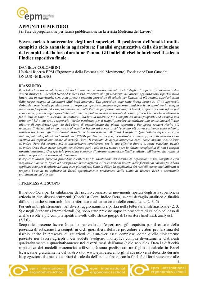 1 APPUNTI DI METODO ( in fase di preparazione per futura pubblicazione su la rivista Medicina del Lavoro) Sovraccarico bio...