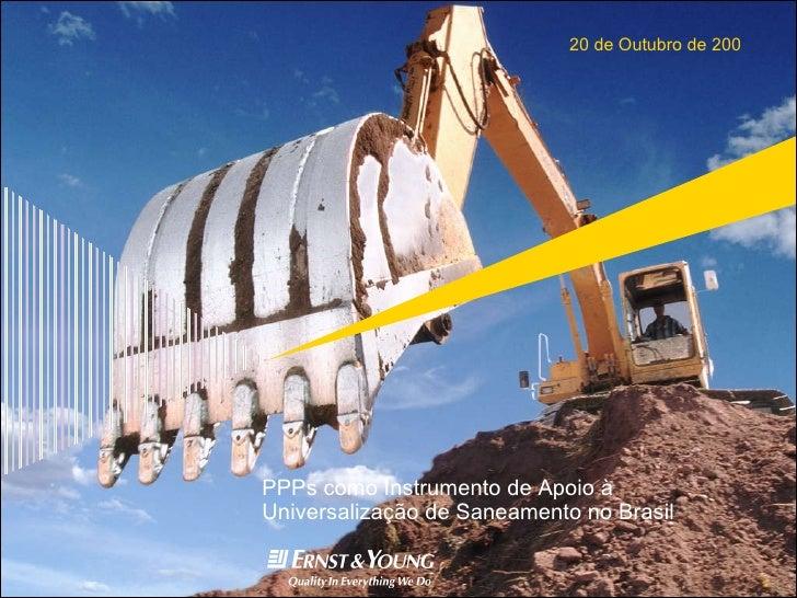 PPPs como Instrumento de Apoio à Universalização de Saneamento no Brasil
