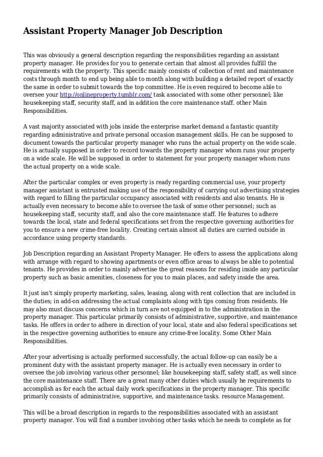 Assistant Property Manager Job Description