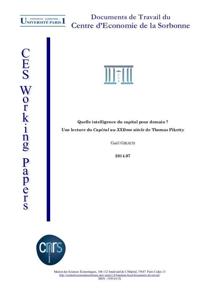 Documents de Travail du  Centre d'Economie de la Sorbonne  Quelle intelligence du capital pour demain ? Une lecture du Cap...