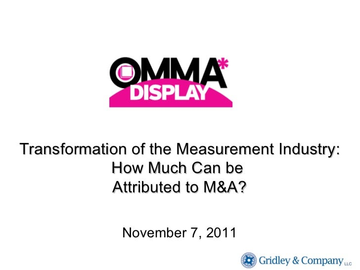 Transformation of the Measurement Industry: How Much Can be  Attributed to M&A? November 7, 2011
