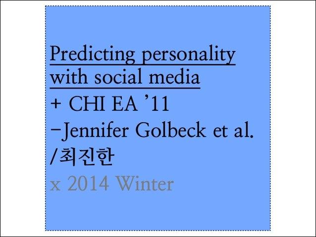 predicting personality with social media
