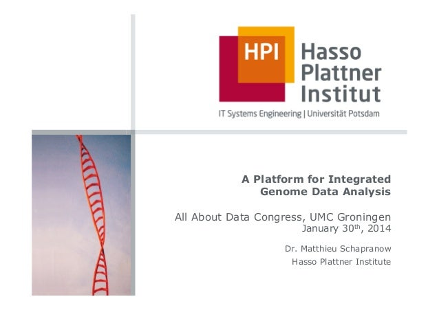 A Platform for Integrated Genome Data Analysis All About Data Congress, UMC Groningen  January 30th, 2014  Dr. Matthieu Sc...