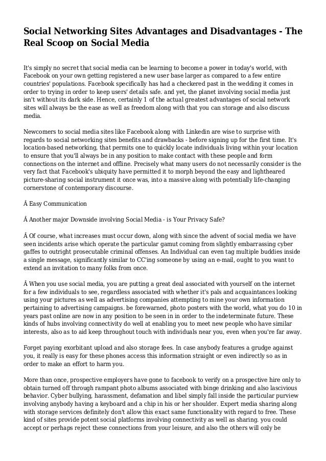 Advantages and disadvantages of social media essay ideas
