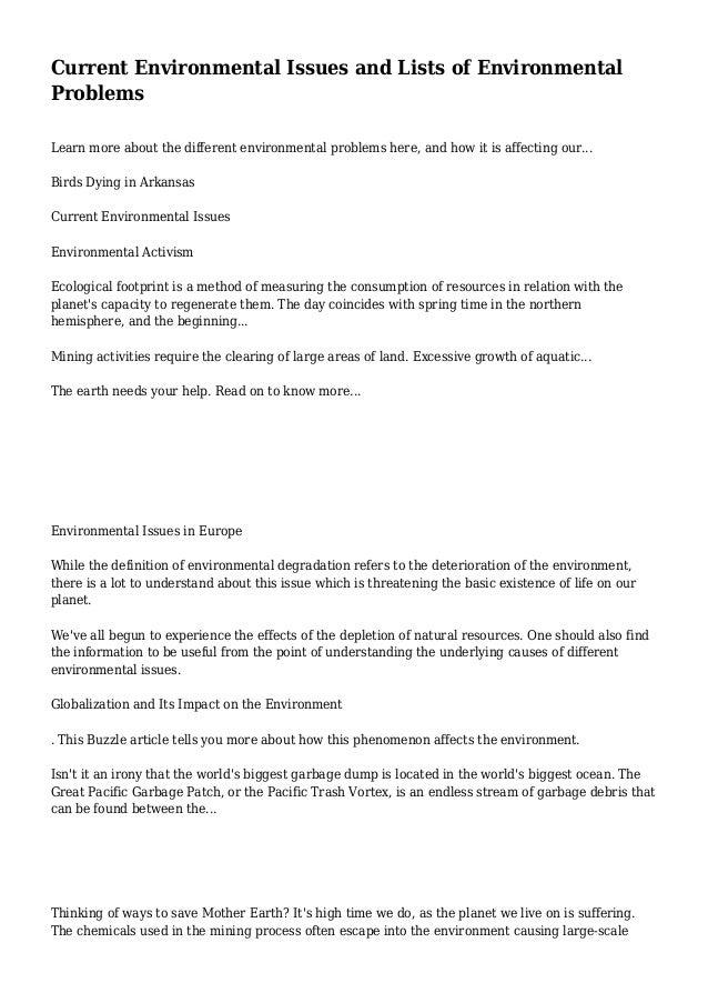 world environmental issues essay