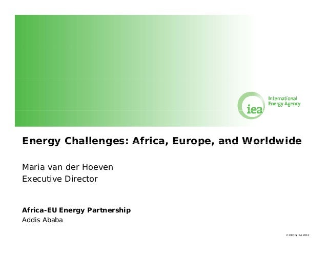 Energy Challenges: Africa, Europe and Worldwide Africa Europe, Maria van der Hoeven Executive Director  Africa-EU Energy P...