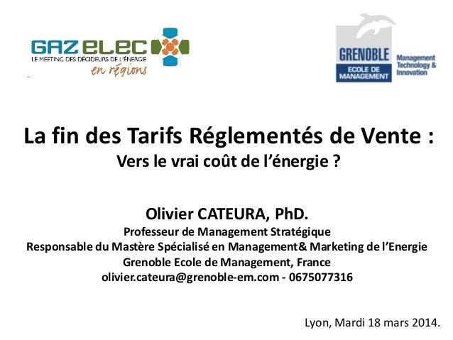 La fin des Tarifs Réglementés de Vente : Vers le vrai coût de l'énergie ? Olivier CATEURA, PhD. Professeur de Management S...