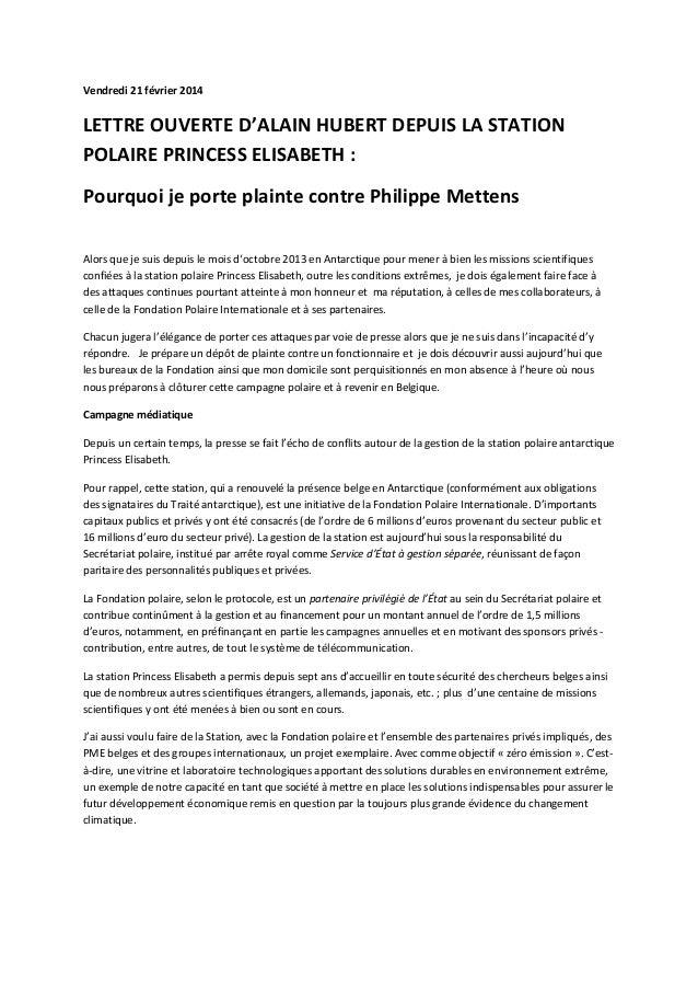 Vendredi 21 février 2014  LETTRE OUVERTE D'ALAIN HUBERT DEPUIS LA STATION POLAIRE PRINCESS ELISABETH : Pourquoi je porte p...