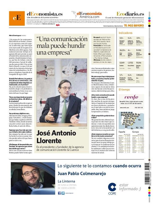 José Antonio Llorente en la contra de El Economista