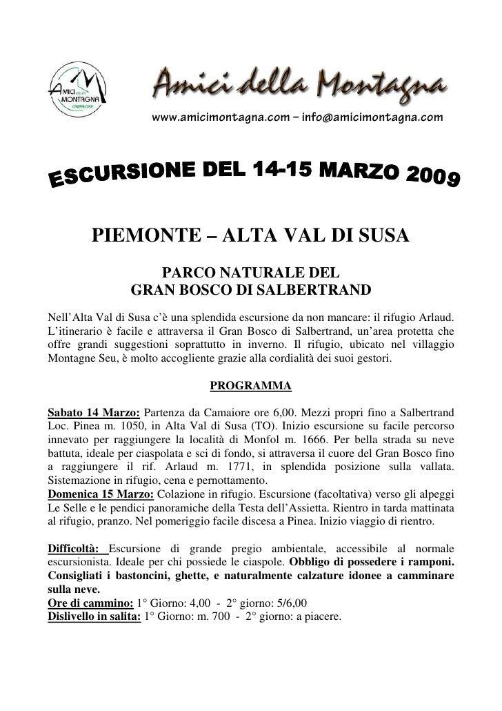 www.amicimontagna.com – info@amicimontagna.com              PIEMONTE – ALTA VAL DI SUSA                      PARCO NATURAL...
