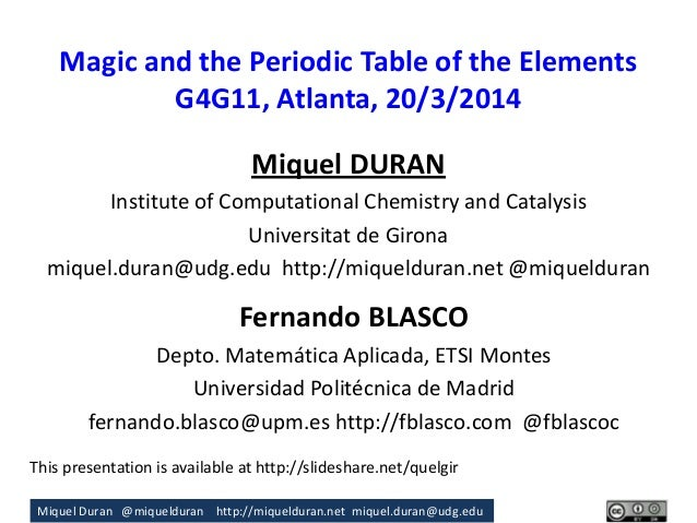 Miquel Duran @miquelduran http://miquelduran.net miquel.duran@udg.edu Magic and the Periodic Table of the Elements G4G11, ...