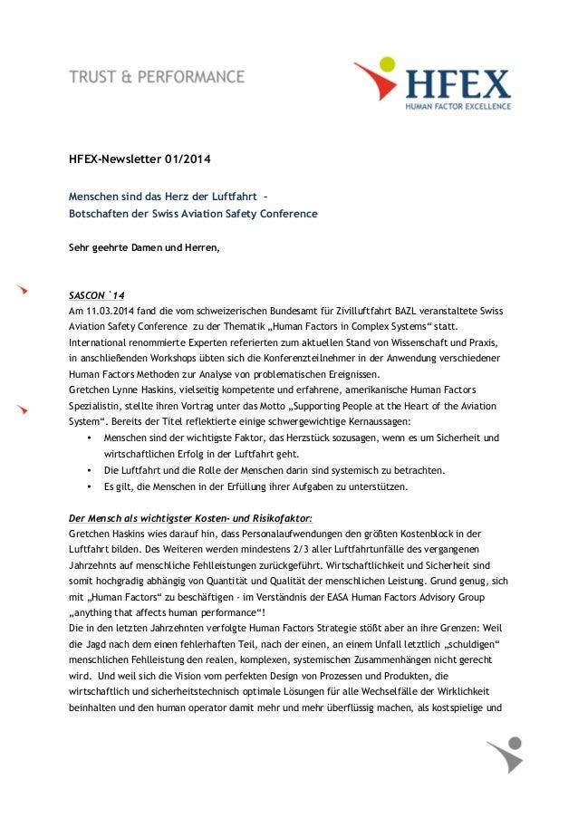 HFEX-Newsletter 01/2014 Menschen sind das Herz der Luftfahrt – Botschaften der Swiss Aviation Safety Conference Sehr geehr...
