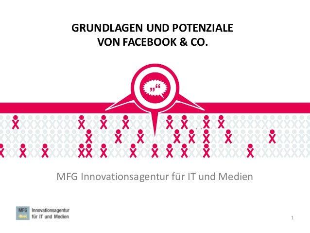 GRUNDLAGEN UND POTENZIALE VON FACEBOOK & CO. MFG Innovationsagentur für IT und Medien 1 MFG SOCIAL MEDIA LAB MFG SOCIAL ME...