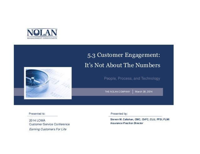 Presented by:Presented to: THE NOLAN COMPANY 5.3 Customer Engagement: It's Not About The Numbers People, Process, and Tech...