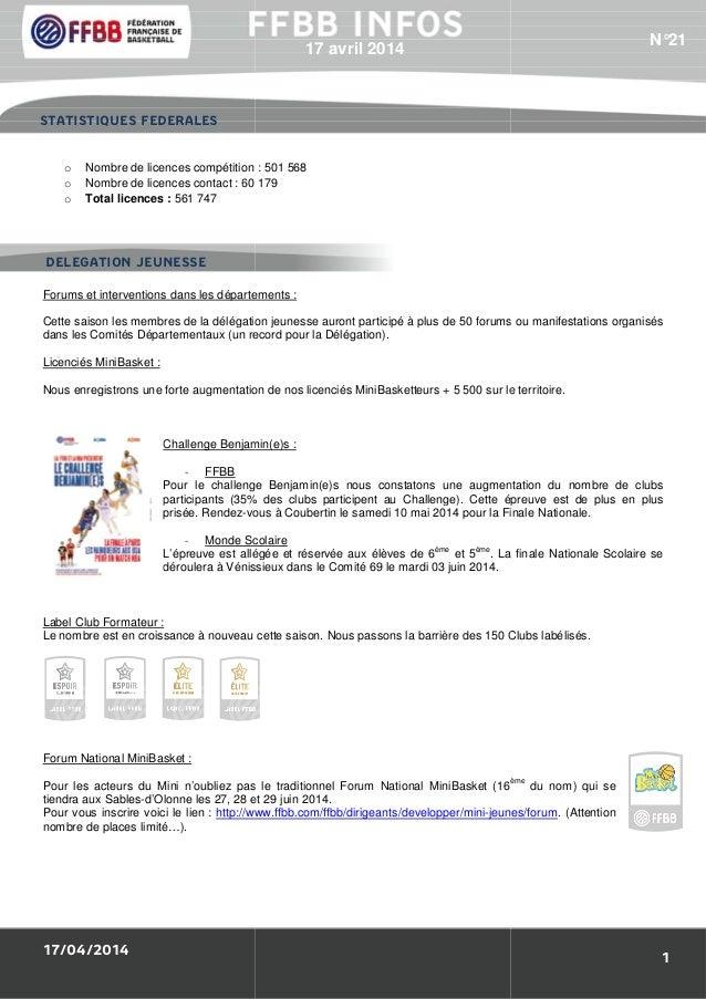 17/04/2014 o Nombre de licences compétition o Nombre de licences contact : 60 179 o Total licences : 561 747 Forums et int...