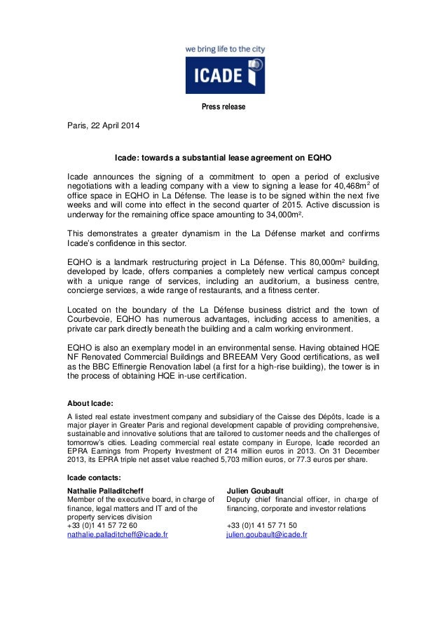 Press release Paris, 22 April 2014 Icade: towards a substantial lease agreement on EQHO Icade announces the signing of a c...