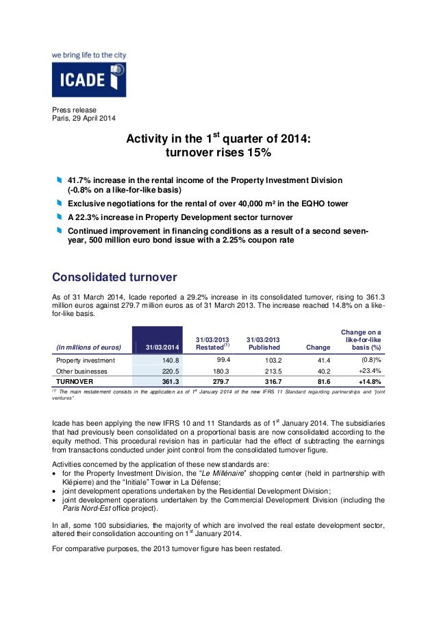 Press release Paris, 29 April 2014 Activity in the 1st quarter of 2014: turnover rises 15% 41.7% increase in the rental in...