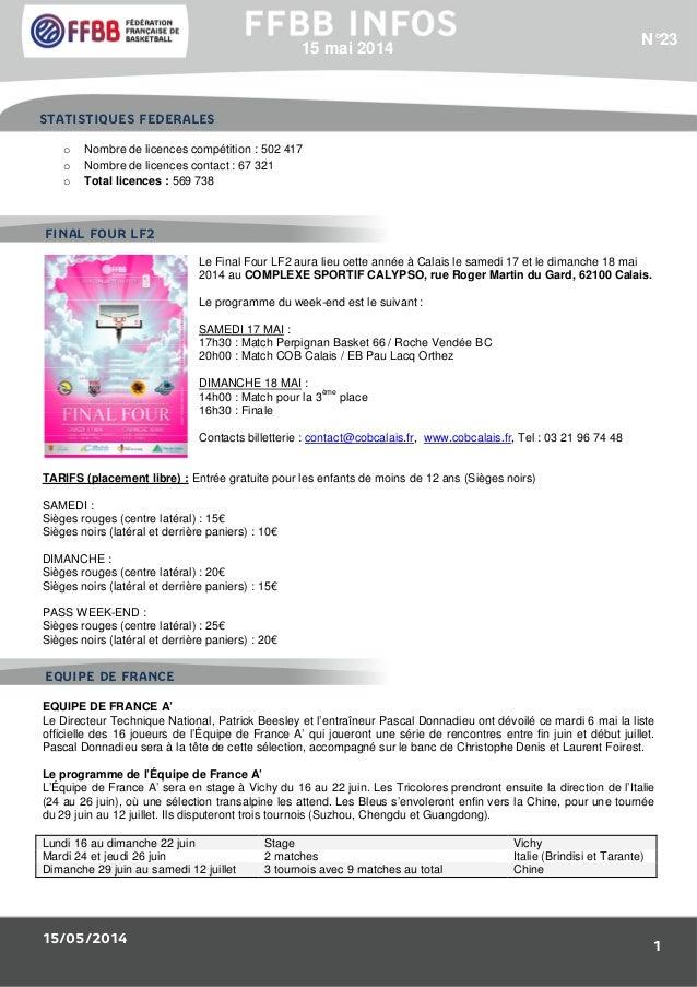 15/05/2014 1 o Nombre de licences compétition : 502 417 o Nombre de licences contact : 67 321 o Total licences : 569 738 L...
