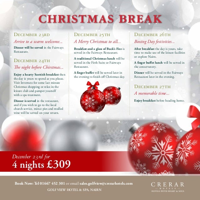 Festive 2013 golf view hotel spa for 12 days of christmas salon specials