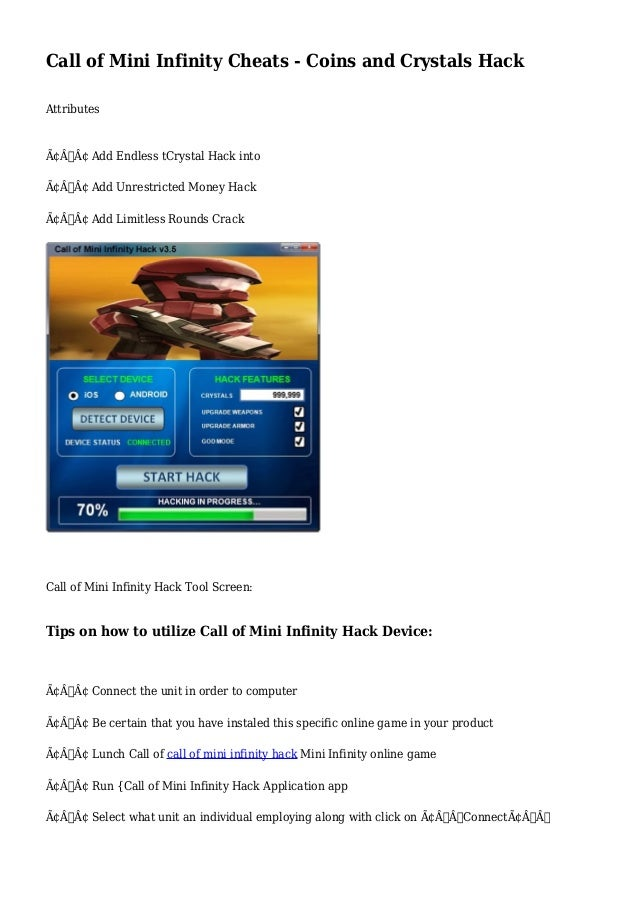 Call of Mini Infinity Cheats - Coins and Crystals Hack
