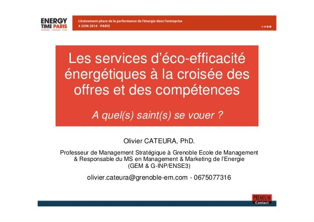 Les services d'éco-efficacité  énergétiques à la croisée des  offres et des compétences  A quel(s) saint(s) se vouer ?  Ol...