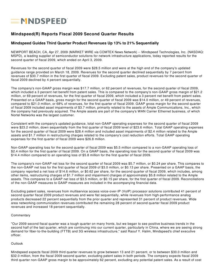 Mindspeed(R) Reports Fiscal 2009 Second Quarter Results  Mindspeed Guides Third Quarter Product Revenues Up 13% to 21% Seq...