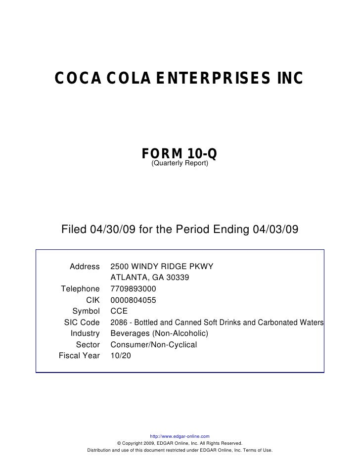 Q1 2009 Earning Report of Coca Cola Enterprises
