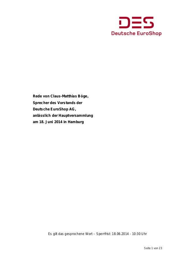 Seite 1 von 23 Rede von Claus-Matthias Böge, Sprecher des Vorstands der Deutsche EuroShop AG, anlässlich der Hauptversamml...
