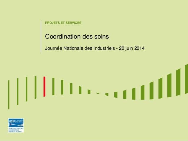 PROJETS ET SERVICES Coordination des soins Journée Nationale des Industriels - 20 juin 2014