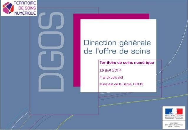 Direction générale de l'offre de soins - DGOS Territoire de soins numérique 20 juin 2014 Franck Jolivaldt Ministère de la ...