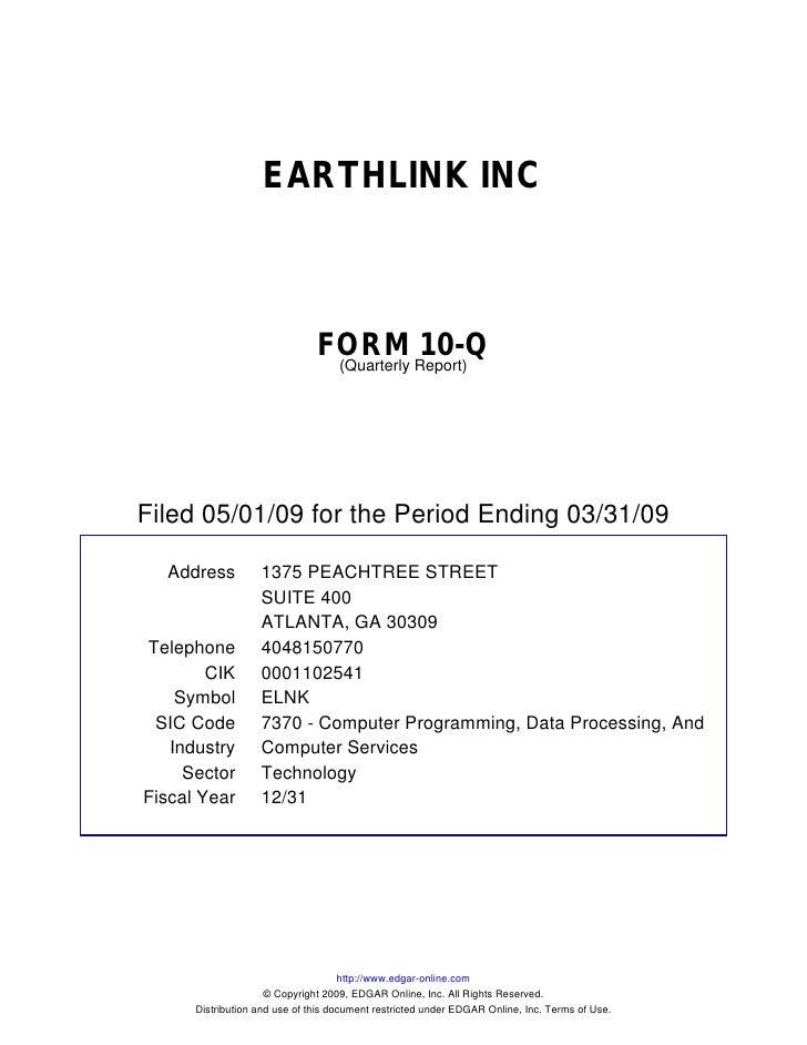 EARTHLINK INC                                   FORM Report)10-Q                                 (Quarterly     Filed 05/0...