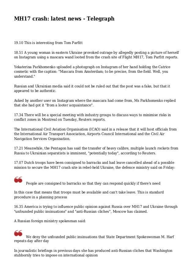 MH17 crash: latest news - Telegraph