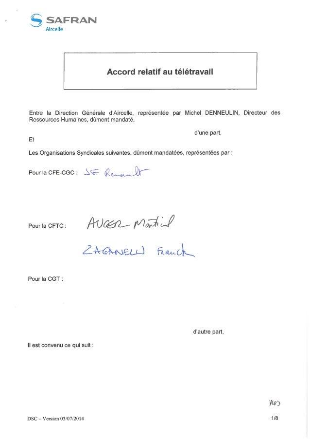 Aircelle : Accord télétravail (groupe Safran)