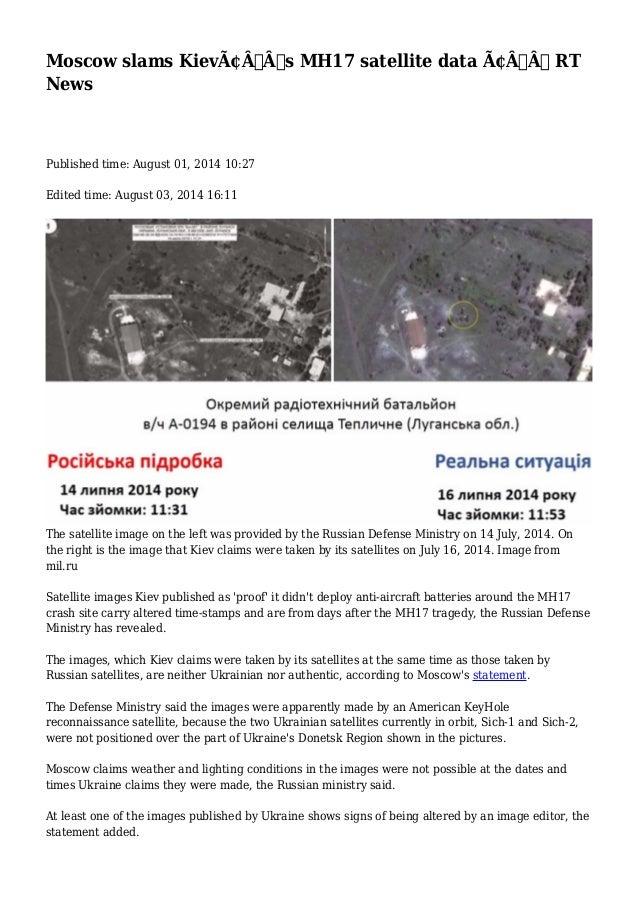 Moscow slams Kiev's MH17 satellite data — RT News