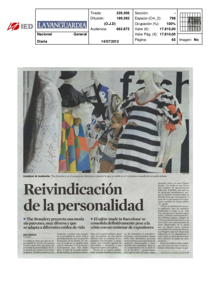 Clipping La vanguardia 14/07/12 @ IED Barcelona