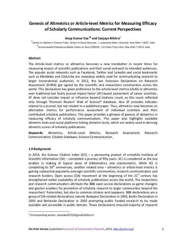 Pre-Print Version [submitted to Journal of Scientometric Research, 2014, http://jscires.org] 1 Genesis of Altmetrics or Ar...