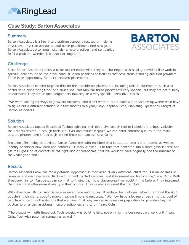Case Study: Barton Associates © Copyright 2014 RingLead, Inc. Case Study: Barton Associates Summary Barton Associates is a...