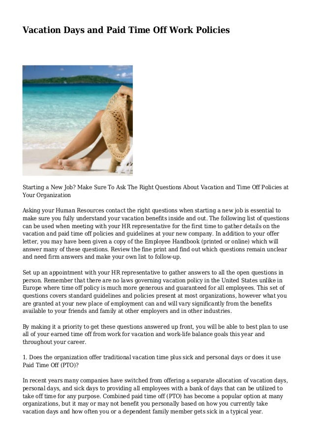 Vacation days and paid time off work policies for Paid time off policy template