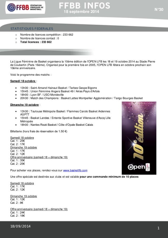 STATISTIQUES FEDERALES  18/09/2014  1  18 septembre 2014  o Nombre de licences compétition : 233 662  o Nombre de licences...