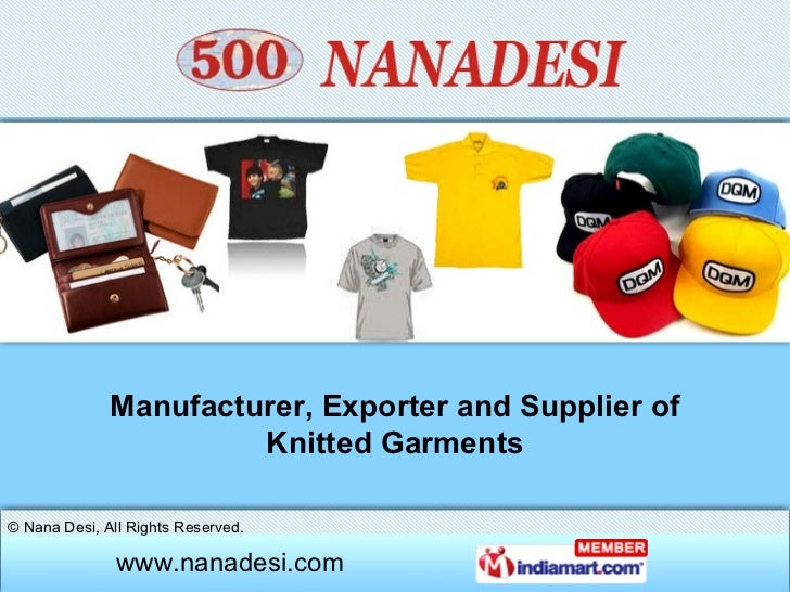 Manufacturer, Exporter and Supplier of Knitted Garments