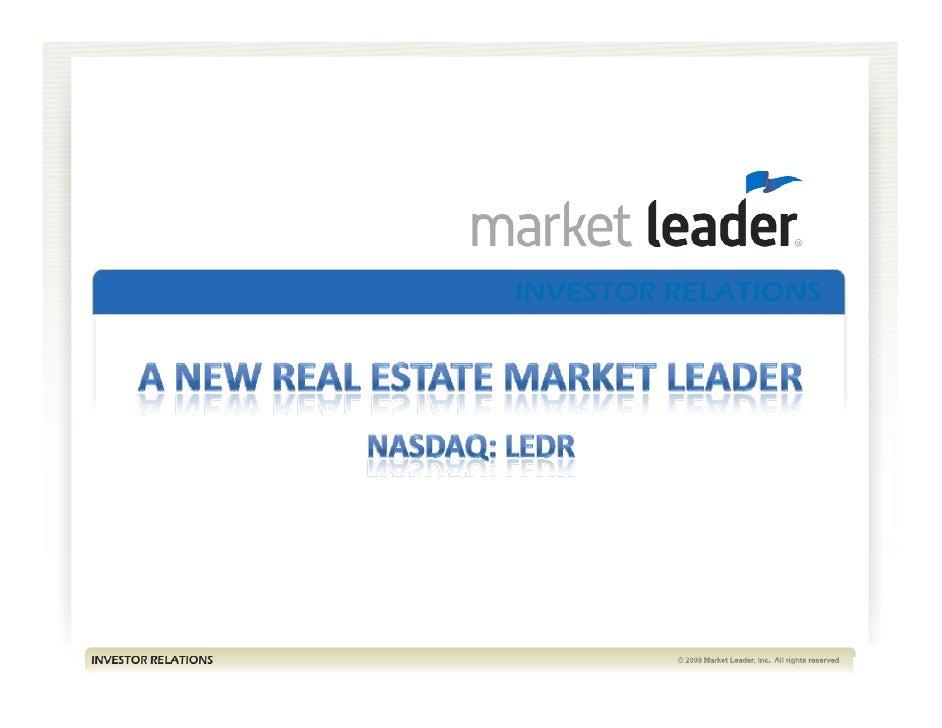 Q1 2009 Earning Report of Market Leader Inc