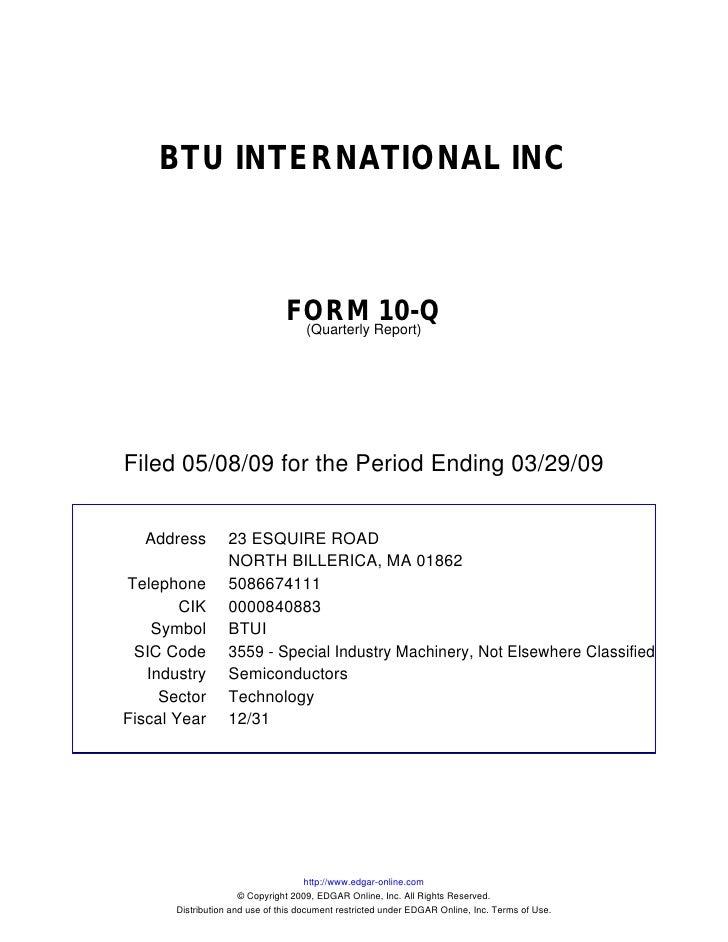 BTU INTERNATIONAL INC                                    FORM Report)10-Q                                  (Quarterly     ...