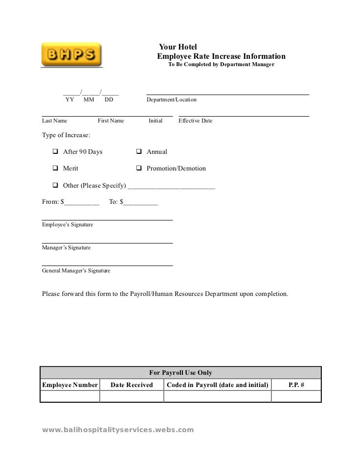 14099329 Hotel Employee Rate Increase Information Template