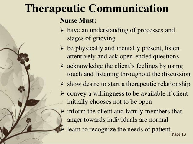 therapeutic communication 2 essay Free sample essay on importance of communication in mental samples : essay on the it serves as a basic component of the therapeutic nurse-clients relationship.