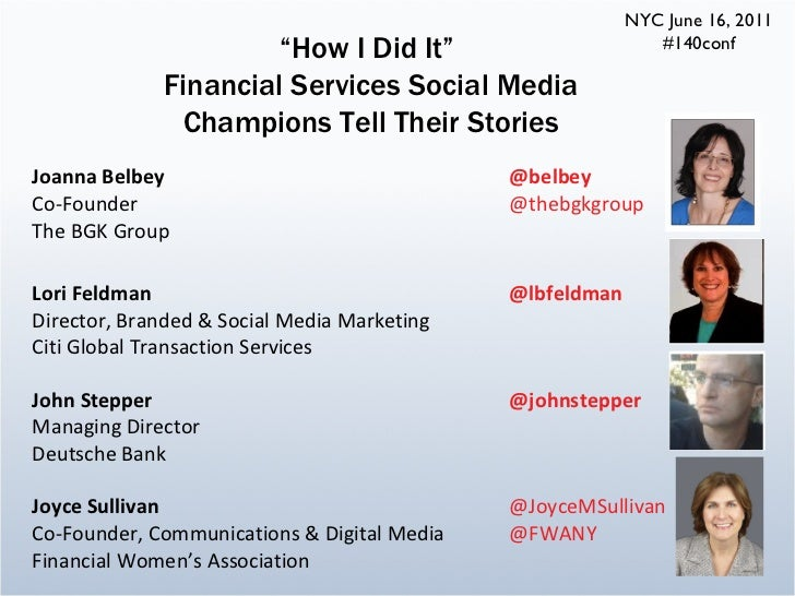 """#140Conf """"How I Did It"""" FInancial Services Social Media Champions Tell Their Stories"""