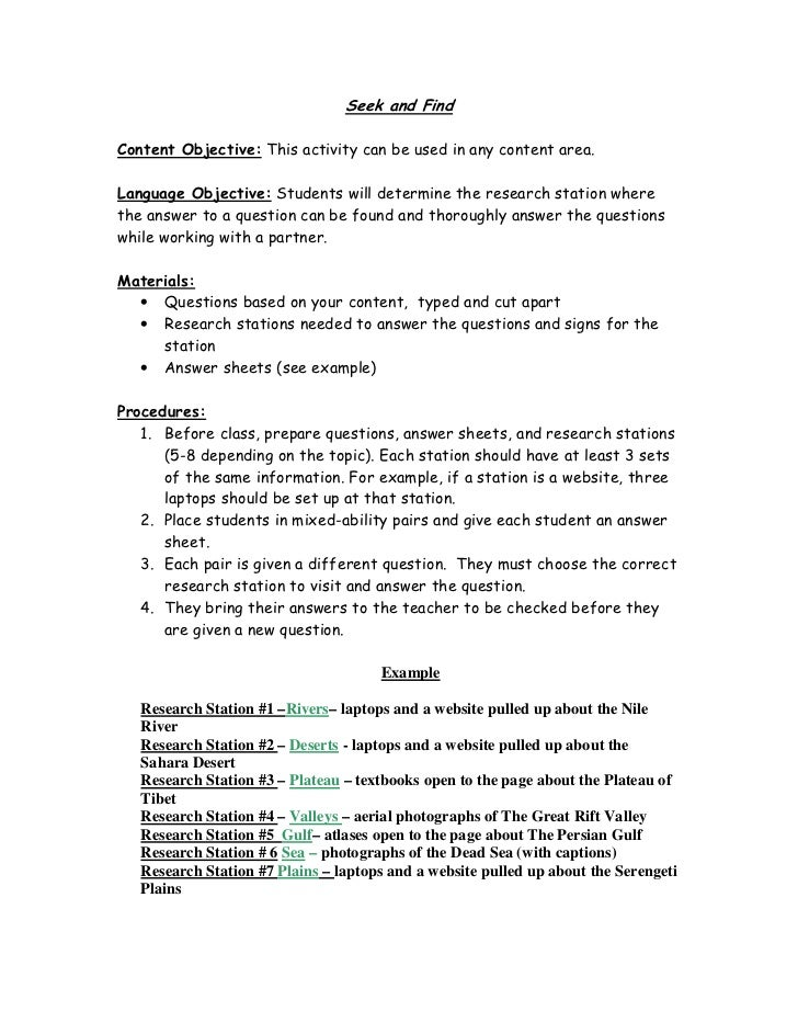Seek and FindContent Objective: This activity can be used in any content area.Language Objective: Students will determine ...