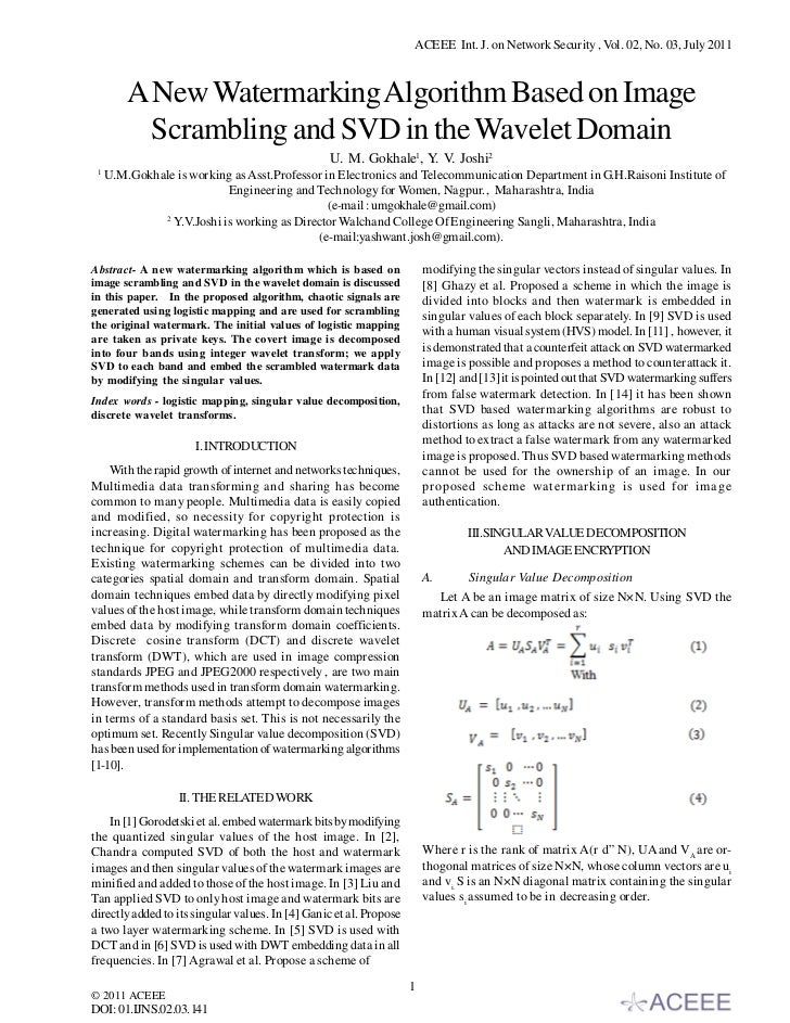 ACEEE Int. J. on Network Security , Vol. 02, No. 03, July 2011         A New Watermarking Algorithm Based on Image        ...